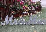 Amajoy Letras de madera grandes de plata con purpurina para decoración de boda, decoración del hogar, decoración de mesa