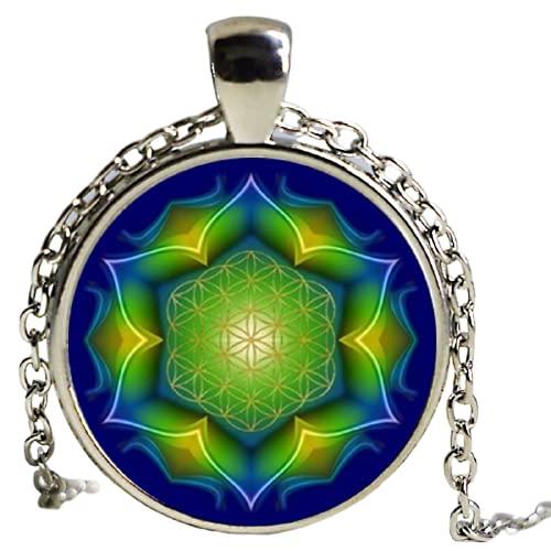 Collar con colgante de flor de la vida con colgante de mandala, joya de cristal
