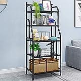 exilot 5 Tier Metal Standing Shelf Space Saver, Heavy Duty Storage Shelving Unit Organizer, Storage Tower Rack for Kitchen Bathroom Garage Pantry and Outdoor Flower Stand (Black, 5-Tier)