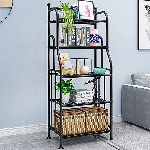 5 Tier Industrial Bookshelf, Vintage Standing Storage Shelf, Display Shelving Units, Tall Bookcase, Industrial Metal Book Shelves for Living Room Bedroom and Home Office