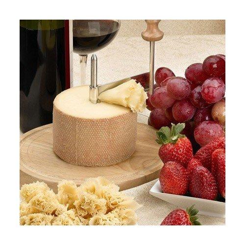 Taglia formaggio 'Girolle', adatto per raschiare formaggio / cioccolata, creando delle fette / trucioli sottili. Ideale per degustazioni e spuntini, per creare fettine sottili di formaggio, ecc. Consigliato per il formaggio svizzero Tête de Moine.