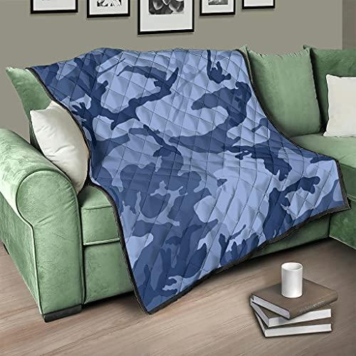 Flowerhome Colcha de camuflaje azul para cama o sofá, reversible, para adultos y niños, color blanco, 130 x 150 cm