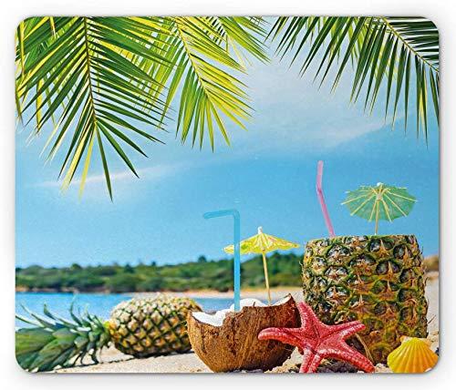 Alfombrilla para ratón tropical, frutas frescas de verano, bebidas de coco y piña en las palmeras exóticas, alfombrilla rectangular de goma antideslizante, color azul y verde – 9.5 x 7.9 pulgadas