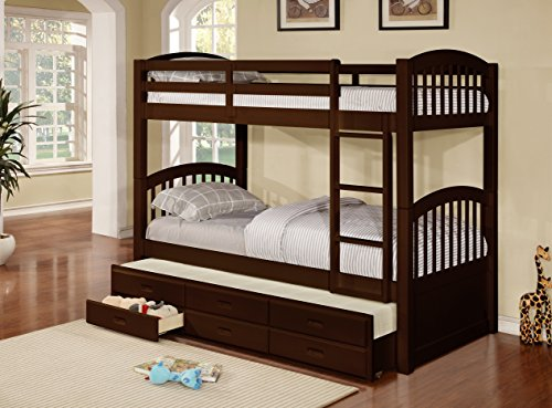 Kings Brand Furniture Wood Twin Size Bunk Bed (Bunkbed) with Trundle & Storage...