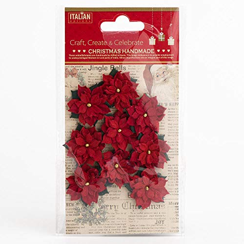 3.5cm Small Red Handmade Poinsettia Christmas Flower Card Making Craft Decorations (Pack of 9)