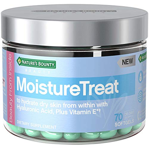 Nature's Bounty Moisturetreat Vitamins, with Hyaluronic Acid + Vitamin E, Skin Care Relief to Hydrate Dry Skin*, 70 Softgels