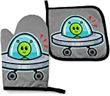Spaceship Alien Pigeon Oven Mitts and Pot Holders Kitchen Set Heat Resistant Cooking Baking BBQ Mitts