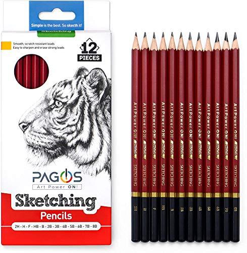 Pagos Sketching Pencils – 12 Pieces Professional Graphite Pencil Set for Drawing – 2H, H, F, HB, B, 2B, 3B, 4B, 5B, 6B, 7B, 8B Art Travel Set - Shading Pencils, Drawing Art Supplies, Sketching Set