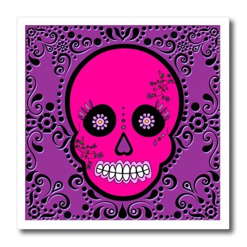 3dRose ht_28872_3 Day of Dead Skull Dia De Los Muertos Sugar Skull Pink Purple Black-Iron on Heat Transfer for White Material, 10 by 10-Inch