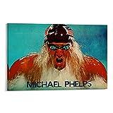 QWSDF Genius Michael Phelps Poster, dekoratives Gemälde,
