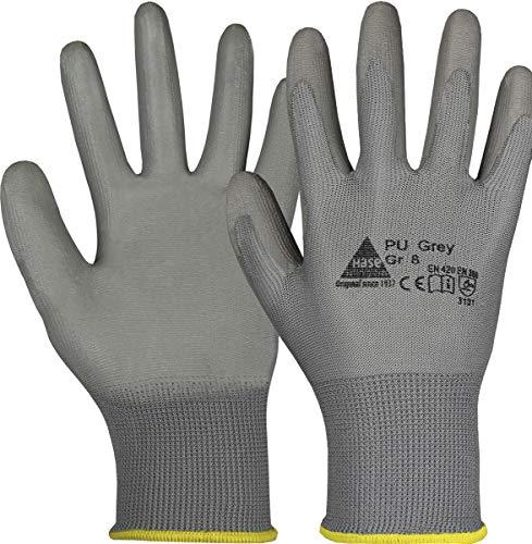 10 Paar Hase Safety Gloves PU Grey Nylonhandschuhe Arbeitshandschuhe mit PU-Beschichtung, ölbeständige Montagehandschuhe, Ideal für Feinarbeiten, Montage, Industrie Gr. M (08)