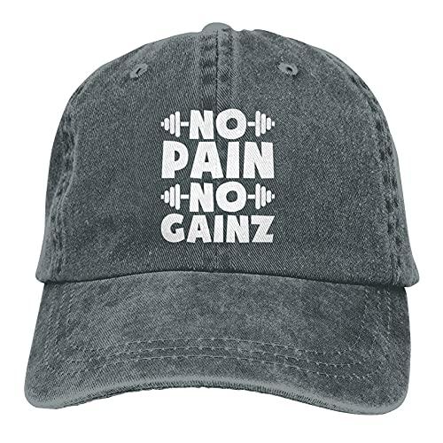 Gymini No Pain No Gainz Cappelli Cotone Lavabile Baseball Caps Regolabile per Uomo Donna Profonda Heather