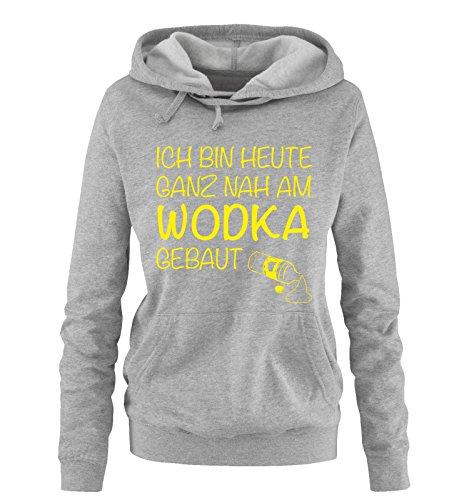 Comedy Shirts - Ich bin Heute ganz nah am Wodka gebaut. - Damen Hoodie - Grau/Neongelb Gr. XL