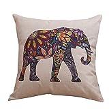 JUNGEN Fundas De Cojines de Moda, Funda de Almohada de patrón de Elefantes de Lino para Decoración de Sofá Coche Cama, 45 * 45cm