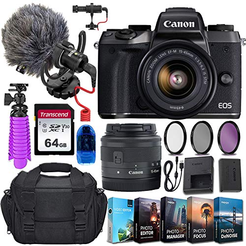 Canon EOS M5 Mirrorless Digital Camera and 15-45mm STM Lens w/Rode VideoMicro Compact On-Camera Microphone + 64GB Transcend Memory Card, Camera Bag & More Essential Accessory Bundle