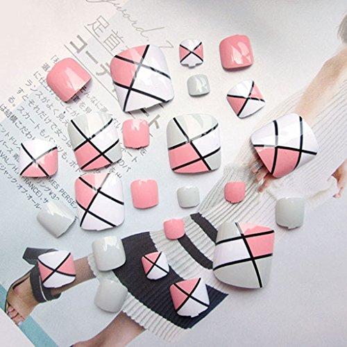 Fugift 24 puntas de uñas postizas para pies para mujer, regalo de verano