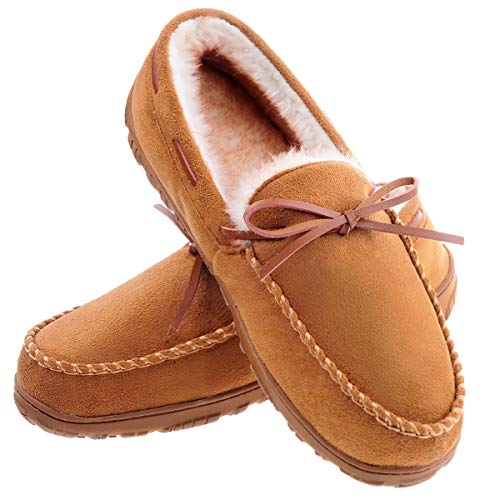 Men's Moccasin Slippers Warm Comfortable Memory Foam Plush Lining Driving Loafers Shoes Light Brown 11 M US