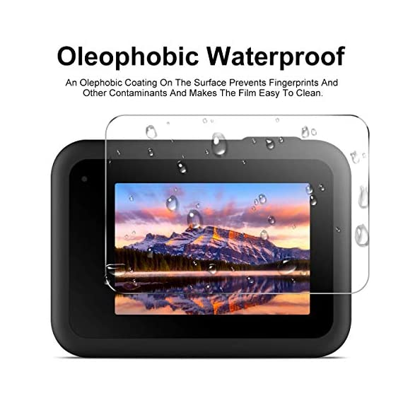 EZCO Screen Protector Compatible with GoPro Hero 8, [3 Sets/9Pcs] Waterproof Ultra Clear Tempered Glass Screen Protector… 2 Screen Protector for GoPro Hero 8: These screen protectors glass are designed for GoPro Hero 8 Camera Black. The package come with 3 pcs tempered glass screen protector, 3 pcs tempered glass lens screen protector, 3 pcs small protective film; 3 set cleaning kits, 1 x installation guide. 9H Hardness: The GoPro Hero 8 Black screen protector tempered glass felt sturdy and made out of good quality materials. It is shatterproof and hard so it doesn't scratch easily. Tempered glass is thick enough to protect your investment from the scratches and bumps of everyday life. Ultra Clear & No Bubbles: This tempered glass is bright, incomparable light transmission up to 99.99%. The highly transparent surface of the protection film for GoPro Hero 8 Black can clearly display the color of the lens and allows the rich colors of the screen.
