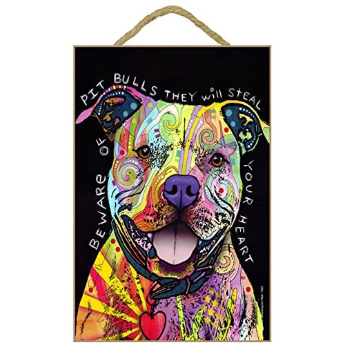 """SJT ENTERPRISES, INC. Pitbull - Beware of Pitbulls They Will Steal Your Heart 7"""" x 10.5"""" Wood Plaque Sign Featuring The Artwork of Dean Russo (SJT78203)"""