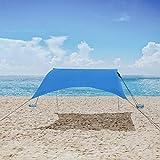 Floving Sombra de Playa con toldo para 3-4 Personas sombrilla port/átil Anti-UV con Protector Solar para la Playa