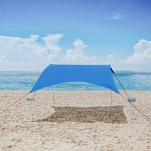 MENCOM Tenda da Spiaggia, Anti UV Tenda da Sole SPF50 con Ancoraggio Sacchetti di Sabbia