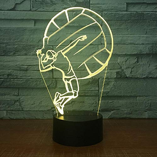 Regalo Creativo Luz De Noche 3D Lámpara De Atmósfera De 7 Colores Lámpara De Noche Para El Hogar Lámpara De Dormitorio Lámpara De Mesa Led Voleibol