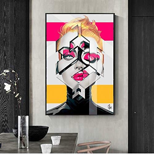 ganlanshu Belleza Europea Retrato geométrico Creativo Negro Mujer impresión en Lienzo póster y Lienzo,Pintura sin Marco,75x112cm