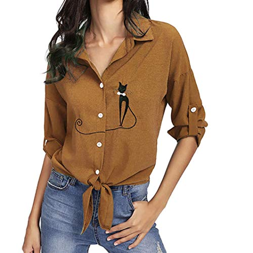 JOFOW Women's Blouse,Casual Long Sleeve Solid Embroidered Cat Striped Lace Tie Bow Knot Hem Tunic Buttom Down Shirt for Women (L,Gold)