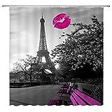 AdaCrazy Paris Eiffelturm Lippendruck Duschvorhang Romantische Stadt Sexy Bank Pflanze Vintage Grau Lila Badezimmer Gardinen Dekor Polyester Stoff Schnelltrocknende 72x72 Zoll Inklusive Haken