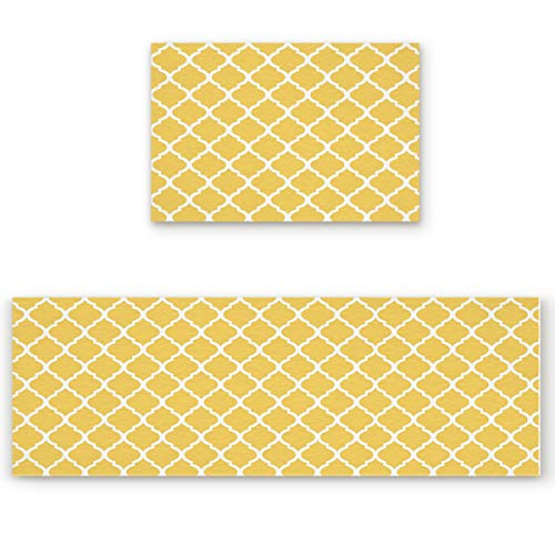 Livencher Kitchen Rug Set,Anti Fatigue Waterproof Non-Skid/Slip Washable Doormat Floor Runner Bathroom Area Rug Carpet - Modern Moroccan Geometric Pattern - Yellow 15.7x23.6in+15.7x47.2in