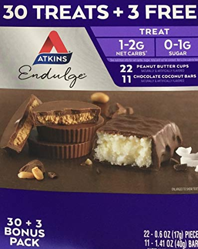 Atkins Endulge Treat 33 Piece Variety Pack (22peanut butter cups & 11 chocolate coconut bars)