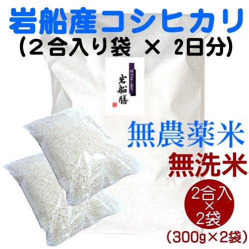 【一人暮らしに便利なごはん】新潟岩船産コシヒカリ(無農薬米) 無洗米2合(300g)×2袋