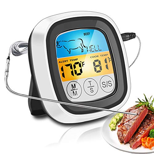 Berytta Meat Thermometer,Digital Touchscreen Cooking Food Thermometer with LCD Backlight and Timer,One Probe Instant Read Thermometer for Meat Poultry Fish Cooking in Grill, Smoker, BBQ Kitchen Oven