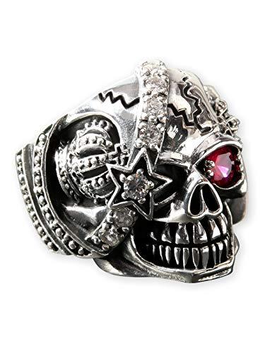 Fly Style Totenkopf Skull Ring Herren aus Edelstahl Pirat Design, Ring Grösse:20.0 mm