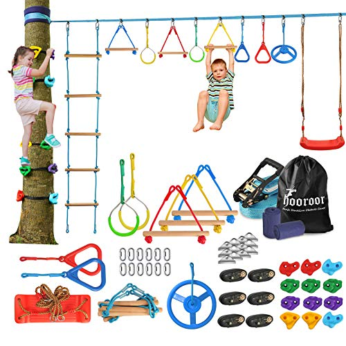 hooroor Ninja Warrior Obstacle Course for Kids-66FT Ninja Line Slackline with Tree Climbing Rock Holds, Swing Seat, Monkey Bars, Ring...