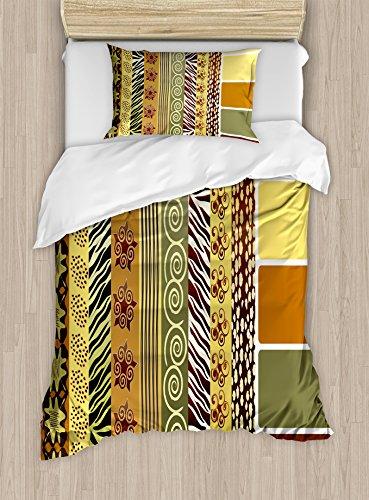 Zambia duvet cover set por Ambesonne, Vintage mezcla africano patrón antiguo Toned Floral abstracto de la tierra Tribal imagen, decorativo juego de cama con fundas de almohada, multicolor