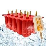Stampi Ghiaccioli Silicone,Stampo per Gelato ghiaccioli fatti in casa,10 cavità contenitori di stampo silicone gelato,Macchina Gelati riutilizzabile congelata,Set stampi con coperchio,per Bambini