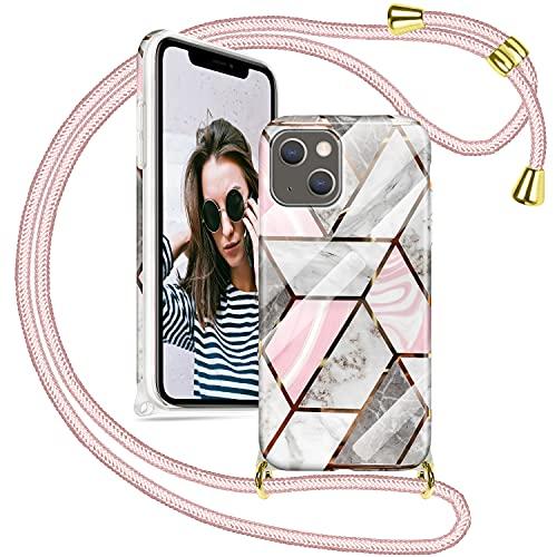 SAMCASE Funda con Cuerda para iPhone 13, Carcasa Mármol Brillante Ultrafina Necklace (Extraíble) con Correa Colgante Ajustable Collar Correa de Cuello Cadena Cordón, Oro Rosa