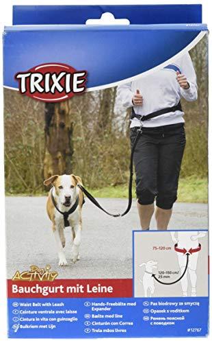 Trixie 12767 Bauchgurt mit Leine, Gurt: 75–120 cm/9 cm, Leine: 1,20–1,50 m/25 mm, schwarz