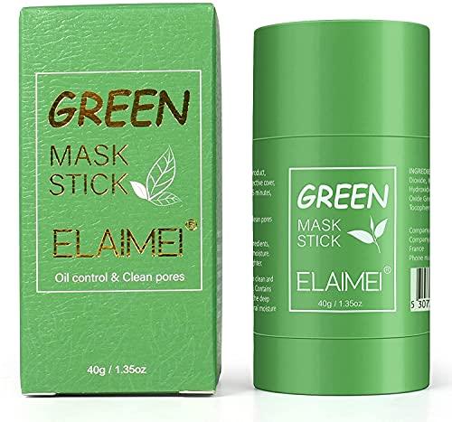 Green Tea Mask,Mascarilla sólida de té verde, hidrata la cara, control de aceite, limpieza profunda de poros, removedor de puntos negros para todo tipo de pieles hombres mujeres