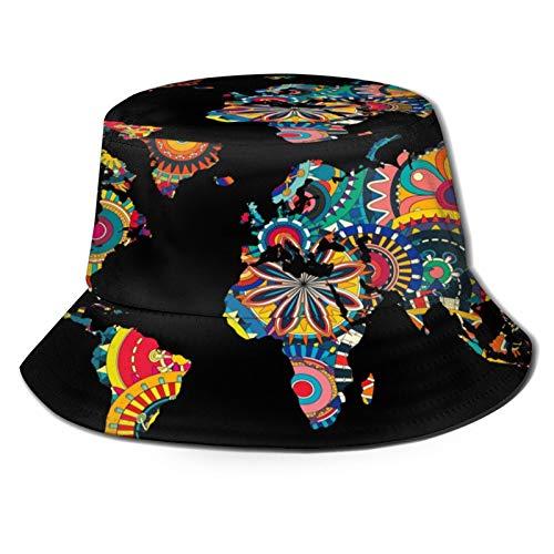 装飾的な奇抜な世界地図 キャップ 漁師帽 バケツハット つば広 ハット 日よけ帽子 晴雨兼用 ソフトハット 熱中症予防 キャップ おしゃれ 紫外線カット 折りたたみ帽子 防寒帽子 Uvカット レディース メンズ クラシックリングバケット