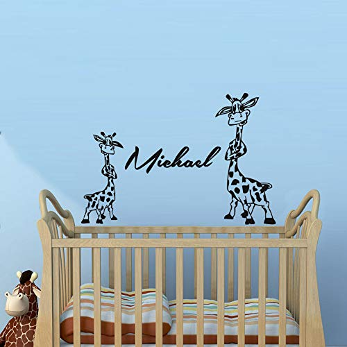 Sanzangtang Twee schattige giraffe muurstickers, gepersonaliseerde namen, afneembaar, voor babykamer