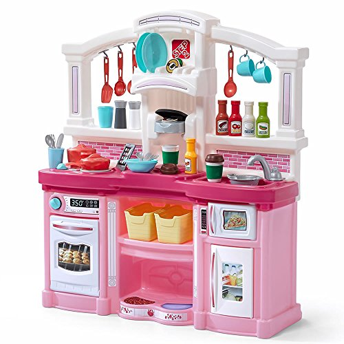 Step2 Fun with Friends Kitchen | Large Plastic Play Kitchen with Realistic Lights & Sounds | Pink Kids Kitchen Playset & 45-Pc Kitchen Accessories Set