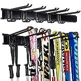 Stormann Organizador de almacenamiento para esquís y bastones de esquí, 5 pares de esquís y garaje para esquís y bastones de alta resistencia horizontal de pared para almacenamiento de esquís