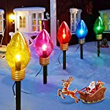 Christmas Lights Jumbo C9 Outdoor Lawn Decorations with Pathway Marker Stakes, 6 Feet C7 String Lights Covered Jumbo Multicolored Light Bulb for Holiday Time Outside Yard Garden Decor, 10 Lights
