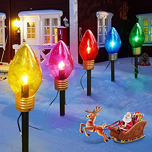 Jumbo C9 Christmas Lights Outdoor Decorations Lawn with Pathway Marker Stakes, 6 Feet C7 String Lights Covered Jumbo Multicolored Light Bulb for Holiday Time Outside Yard Garden Decor, 5 Lights