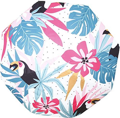 Parasol de plage décoré avec motif Anti UV, en polyester et housse assortie (Motif Blanc)