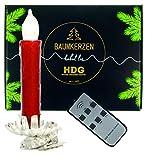 Baumkerzen kabellos | 8 er Set LED Kerzen mit Fernbedienung und Metall Clip silber| Weihnachtskerzen mit Halter | Christbaumbeleuchtung warmweiss | Baumschmuck Weihnachten (rot)