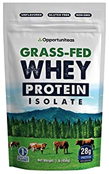 Grass Fed Whey Protein Powder Isolate - Unflavored - Low Carb Keto & Paleo Diet Friendly - Pure Grass-Fed Protein for Shakes Smoothies Drinks & Recipes- Non GMO & Gluten Free - 1 Pound