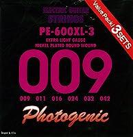PhotoGenic フォトジェニック エレキギター弦 PE-600XL-3 3セットパック (009-042) PE-600XL-3